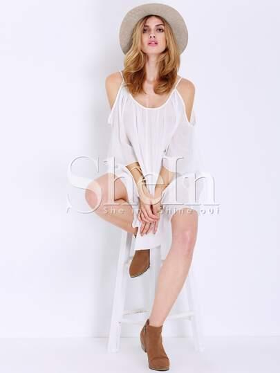 White Half Sleeve Resort Off The Shoulder Dress