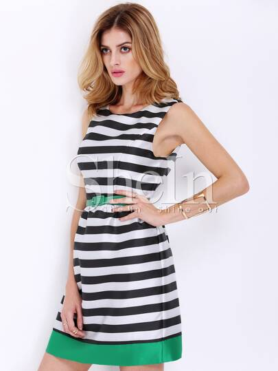 Multicolour Black Sleeveless Striped Flare Dress