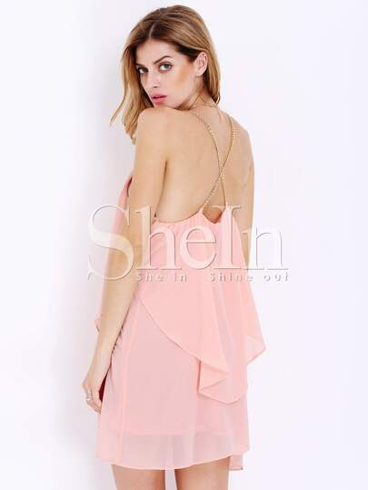 Pink Slip Spaghetti Strap Wrinkle Ruffle Dress