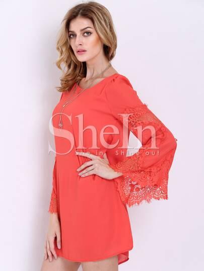 Orange Long Sleeve With Lace Dress