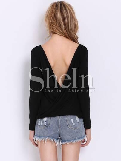 Black Long Sleeve Cross Backless T-shirt