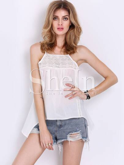 White Spaghetti Strap Backless Crochet Lace Cami Top