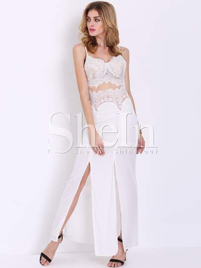 Beige Spaghetti Strap With Lace Maxi Dress