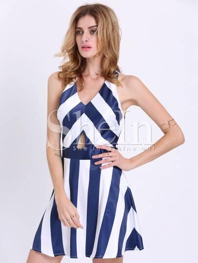 White Navy Sleeveless Striped Flare Dress