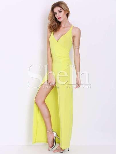 Yellow Lemon Spaghetti Strap Backless Asymmetric Maxi Dress