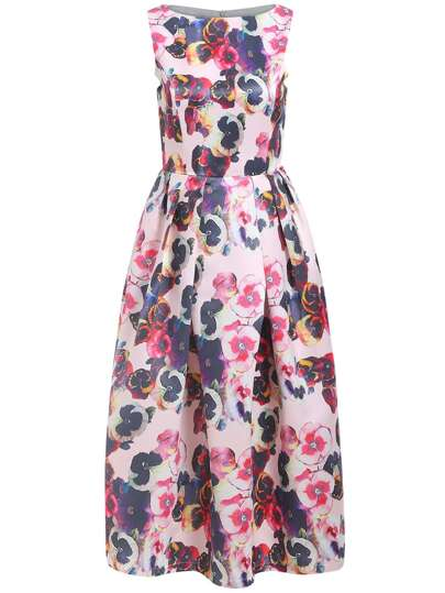Robe évasée floral sans manche -multicolore