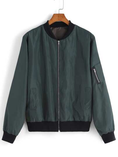 Green Stand Collar Zipper Jacket