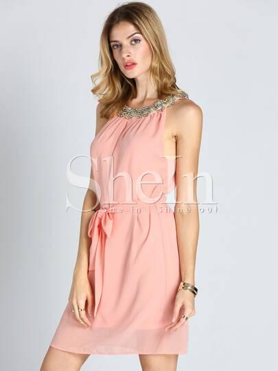Pink Spaghetti straps Ruched Dress