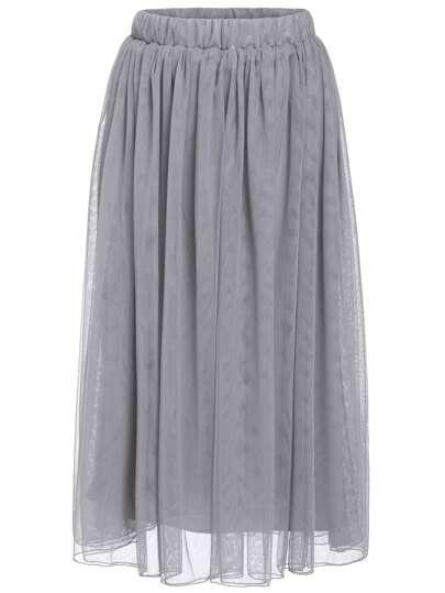 Falda cintura elástica-gris oscuro