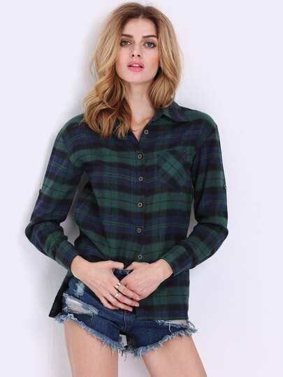 Green Blue Long Sleeve Checks Plaid Loose Blouse