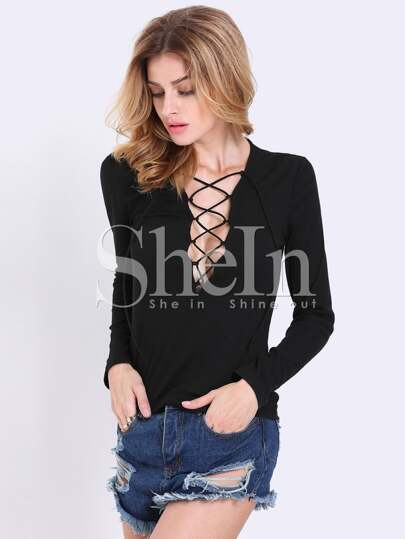 Black Long Sleeve Lace Up T-shirt