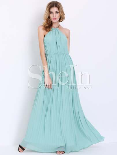 Mint Sleeveless Halter Pleated Elegent Maxi Dress
