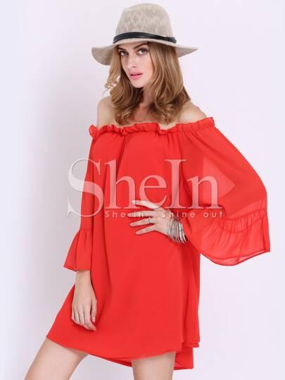 Red Kaftans Long Sleeve Off The Shoulder Dress