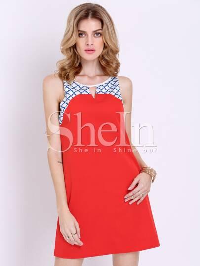 Orange Sleeveless Plaid Houndstooth Color Block Dress