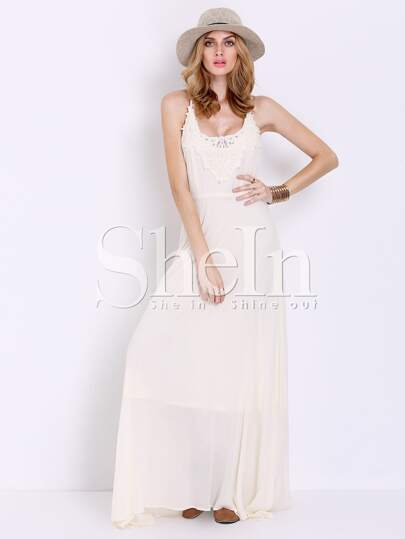 Apricot Spaghetti Strap With Lace Elegance Maxi Dress