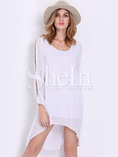 White Split Long Sleeve Shift Dress