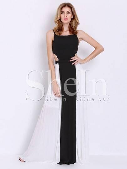 4b8b8b12ea SheIn Sale: Black White Spaghetti Strap Backless Yule Color Block Maxi Dress  - Shesdeal.com
