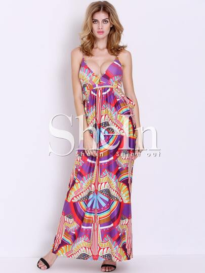 Multicolor Spaghetti Strap Cut Out Great Geometric Print Maxi Dress