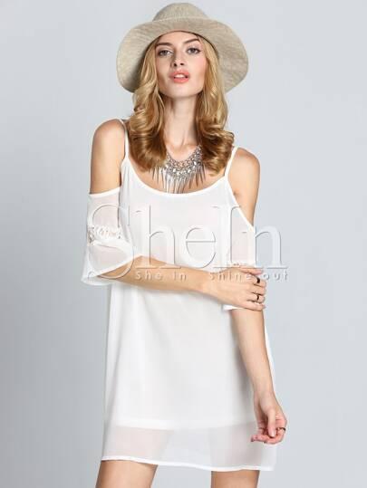 robe plissé brodé dentelle épaule dénudé -blanc