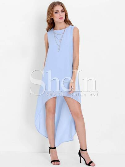 Blue Sleeveless High Low Dress