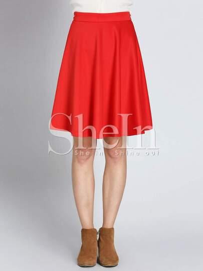 Red High Waist Flare Skirt