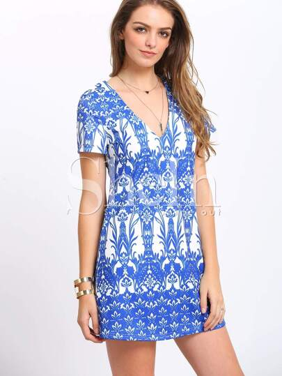 Blue Short Sleeve V Neck Vintage Print Dress
