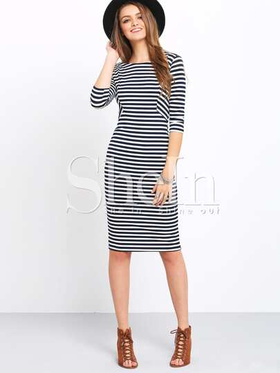 White And Blue Half Sleeve Striped Dress