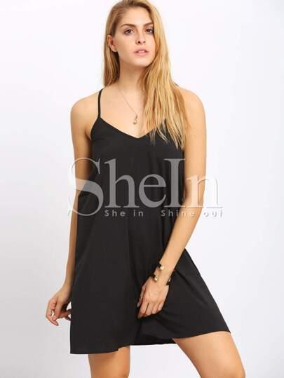 Black Spaghetti Strap Backless Dress