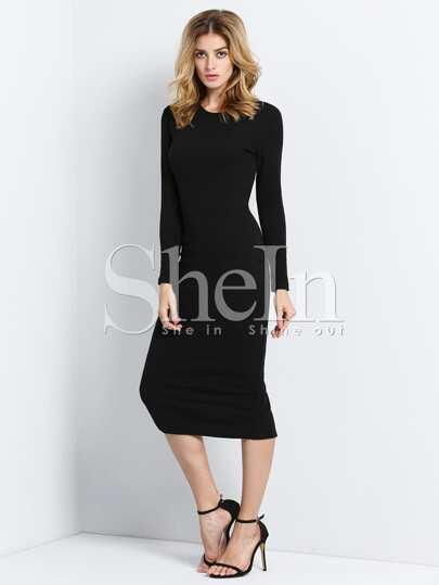Black Long Sleeve Skinny Split Dress