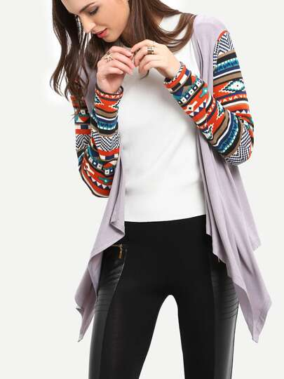 Grey Geometric Print Drape Front Knit Coat