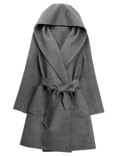Grey Hooded Tie-waist Casual Coat