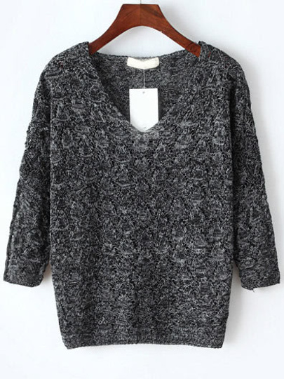 V Neckline Hollow Out Sweater