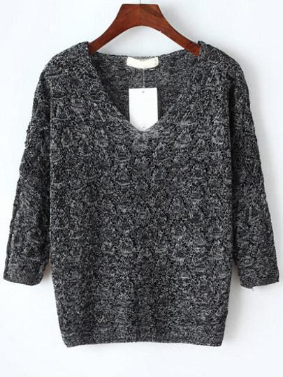 Pull-over tricoté col V manche 3/4 -gris foncé