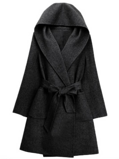 Black Hooded Tie-waist Casual Coat