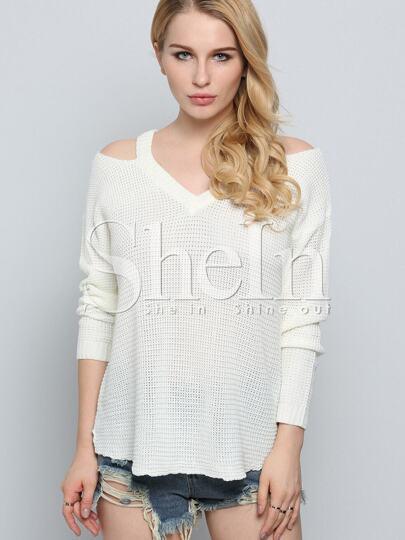 Beige Long Sleeve Off The Shoulder Sweater