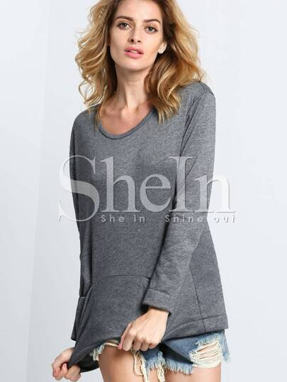 Grey Long Sleeve Pockets Sweatshirt