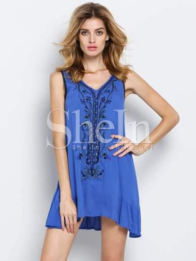 Blue V Neck Sleeveless Embroidered Bead Dress