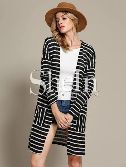 Black White Long Sleeve Striped Knit Cardigan