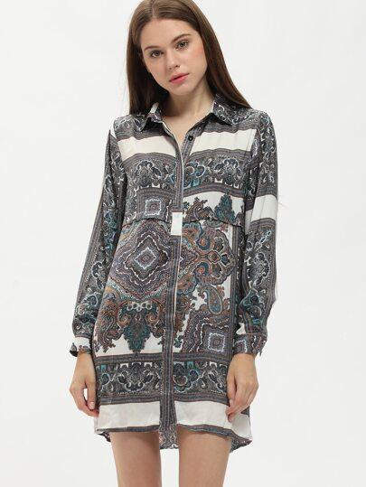 Multicolor Lapel Paisley Print Shirt Dress