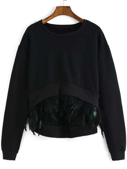 Black Round Neck Feather Embellished Dip Hem Sweatshirt