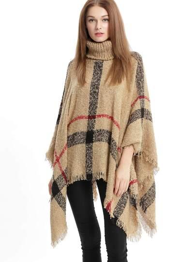 Khaki High Neck Plaid Tassel Cape Sweater