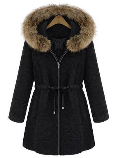 Black Fur Trim Hood Drawstring Waist Wool Coat