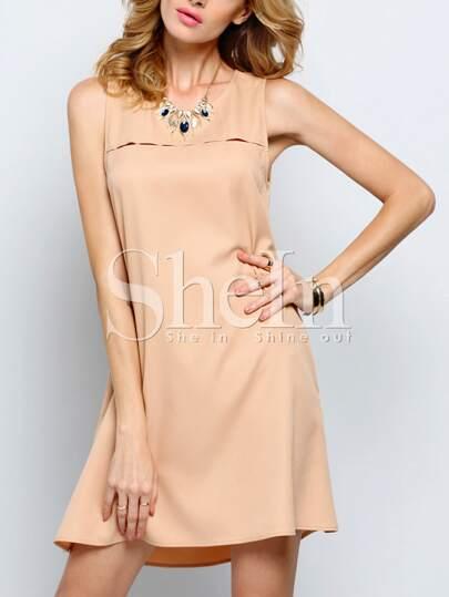 Mocha Apricot Sleeveless Pockets Casual Dress Sundress