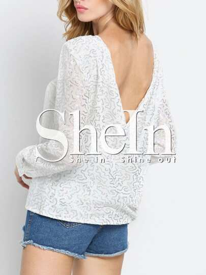 White Long Sleeve Backless Sequined T-shirt