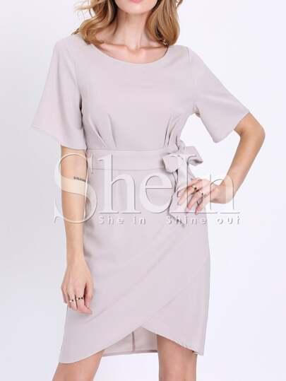 Grey Short Sleeve Careers Waistband Asymmetric Dress
