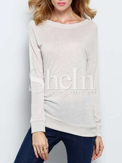 Grey Long Sleeve Embroidered Sweatshirt