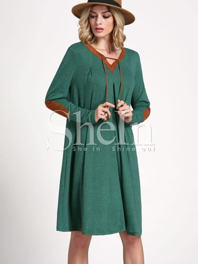 Green Teal Long Sleeve Casual Dress