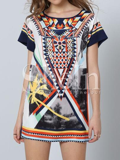 Multicolor Short Sleeve Inch Vintage Print Dress
