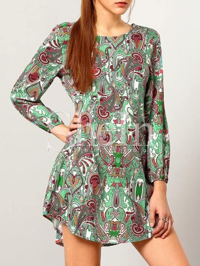 Multicolor Long Sleeve Camo Paisley Print Iridescent Dress