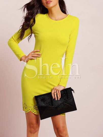 Yellow Long Sleeve Adorable Scallop Hollow Dress